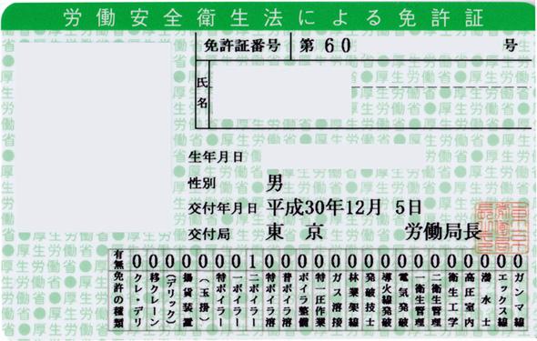 安衛法免許証