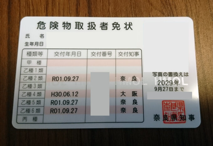 危険物取扱者免状(乙2,5,6)